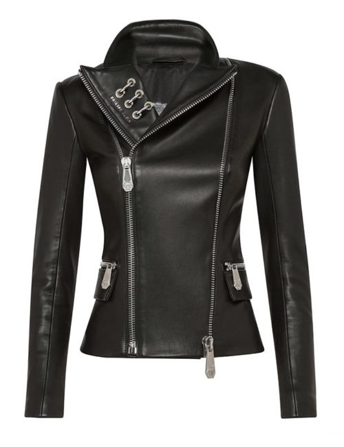 Philipp Plein LEATHER BIKER STATEMENT BLACK