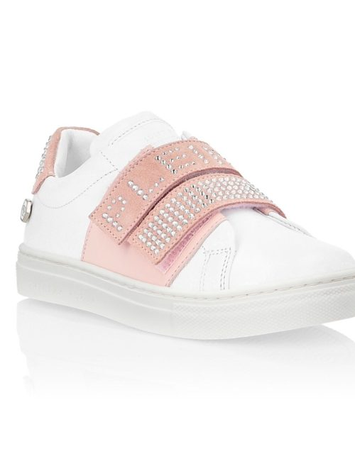 Philipp Plein Junior sneaker CRYSTAL wit/roze
