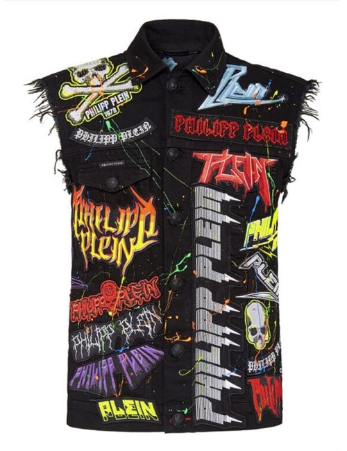 Philipp Plein Denim Vest Rock PP Camouflage