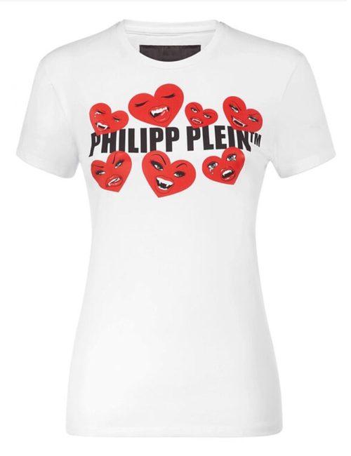 Philipp Plein T-Shirt Round Neck SS Love Plein White