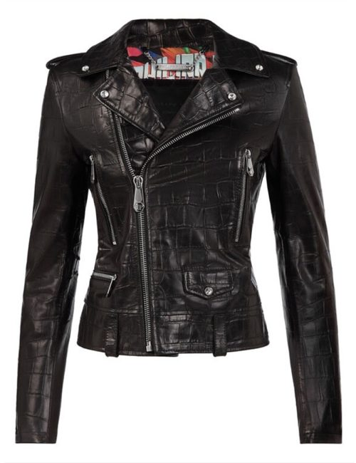 Philipp Plein Leather Biker Signature Black