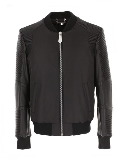 Philipp Plein Leather Bomber Black