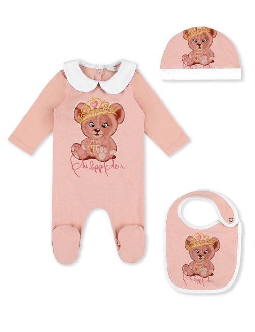 Body/Bonnet/Bib Teddy Bear Nude Pink