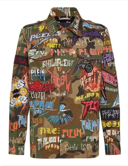 Philipp Plein Denim Jacket Rock PP Camouflage