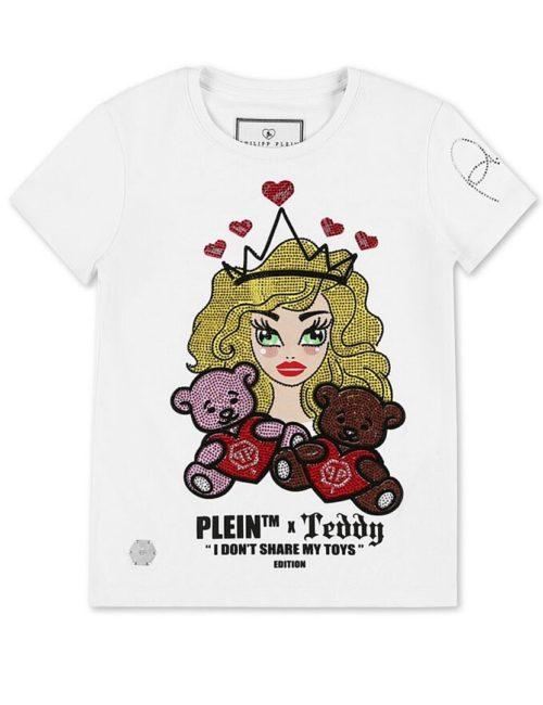 Philipp Plein Junior T-Shirt Round Neck SS Teddy Bear White