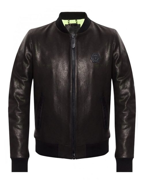 Philipp Plein Leather Bomber Skull Black