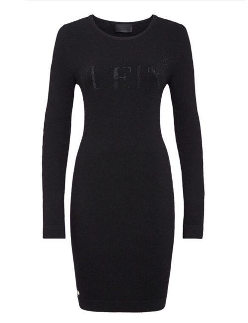 Philipp Plein Knit Dress Crystal Plein Black