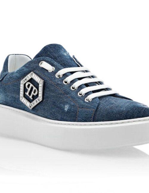 Philipp Plein Lo-Top Sneakers Crystal blauw