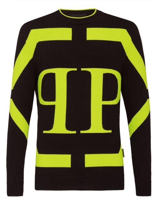 Philipp Plein Pullover Hexagon Zwart/Geel