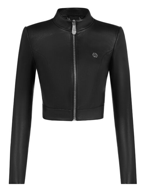 Philipp Plein Leather Moto Jacket Black