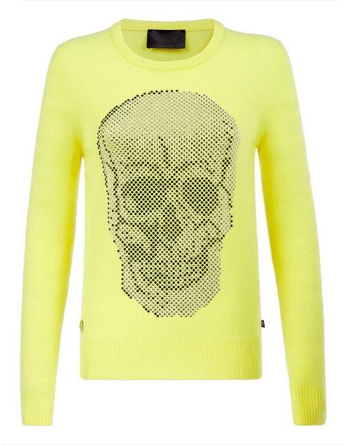 Philipp Plein Pullover Round Neck LS Skull Crystal Yellow