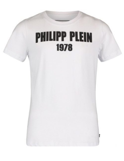 Philipp Plein Junior T-SHIRT ROUND NECK STATEMENT WHITE/BLACK