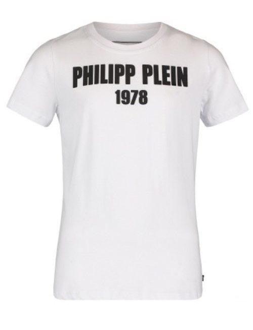 Philipp Plein Junior T-SHIRT ROUND NECK STATEMENT WHITE/BLACK