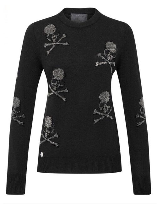 Philipp Plein Pullover Round Neck LS Skull Black