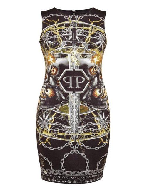 Philipp Plein Short Dress Foulard Texture Black/Gold