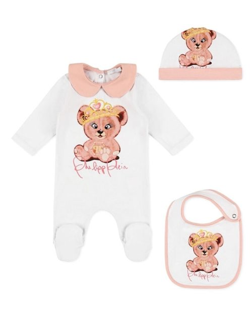 Body/Bonnet/Bib Teddy Bear White