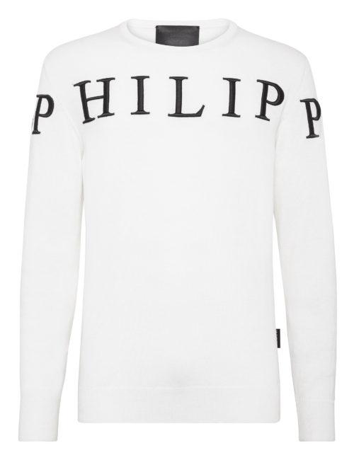 Philipp Plein Pullover PP Wit/Zwart