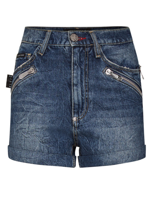 Philipp Plein Hot pants Zipped Blue