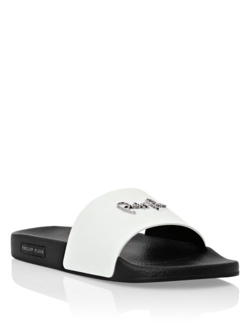 Philipp Plein gummy sandals Signature White