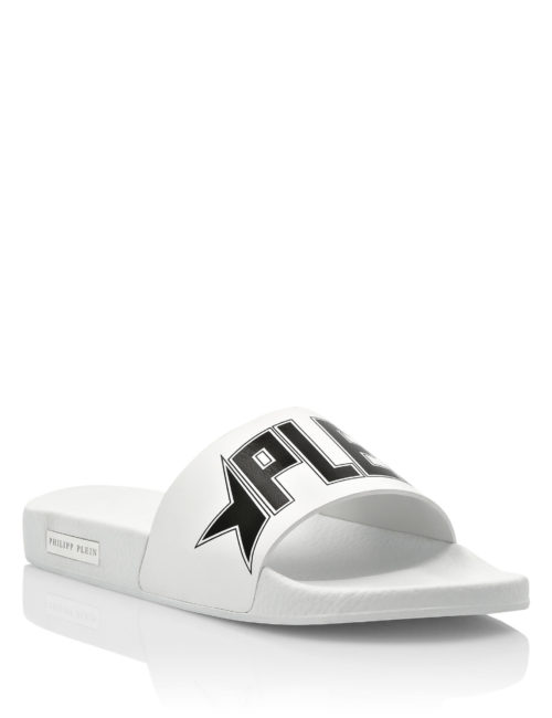 Philipp Plein gummy sandals Plein Star White