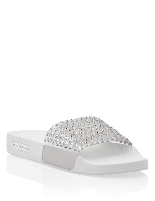 Philipp Plein Flat gummy sandals Crystal