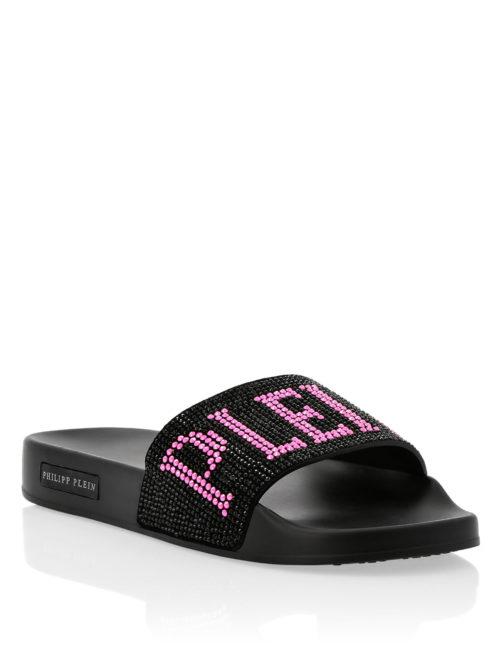 Philipp Plein Flat gummy sandals Crystal Plein