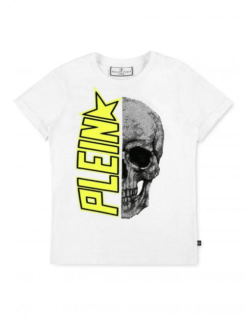 Philipp Plein T-shirt Plein Star Wit-Geel