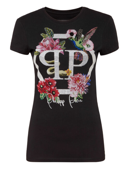 Philipp Plein T-Shirt Flowers Zwart