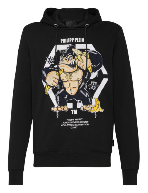 Philipp Plein Hoodie Sweatshirt King Plein Gorilla Zwart