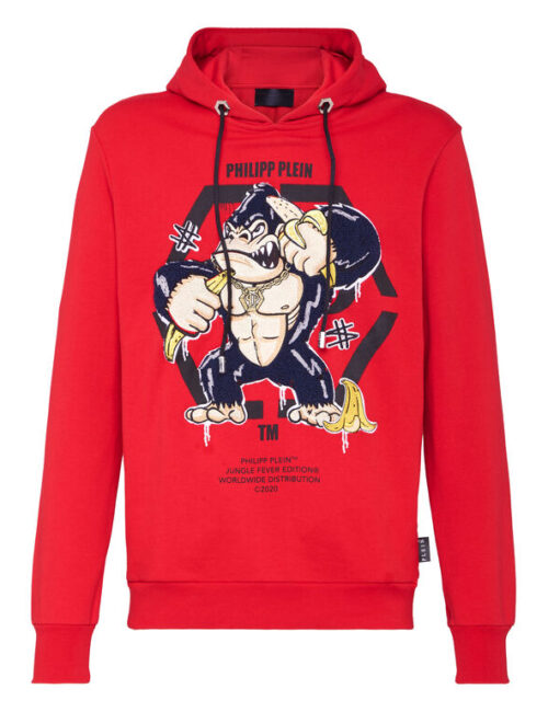Philipp Plein Hoodie Sweatshirt King Plein Gorilla Rood