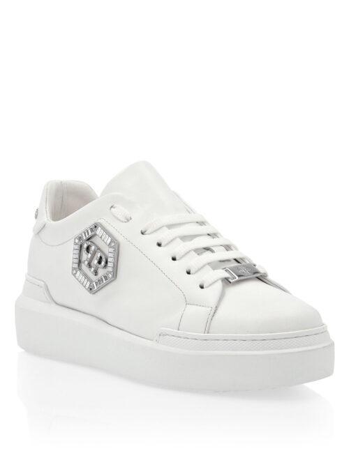 Philipp Plein Lo-Top Sneakers Crystal Hexagon Wit