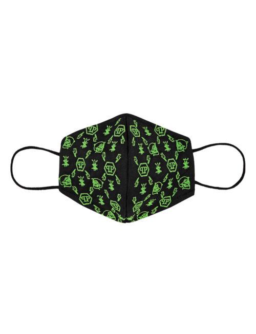 Philipp Plein Face Mask Monogram Zwart/Groen