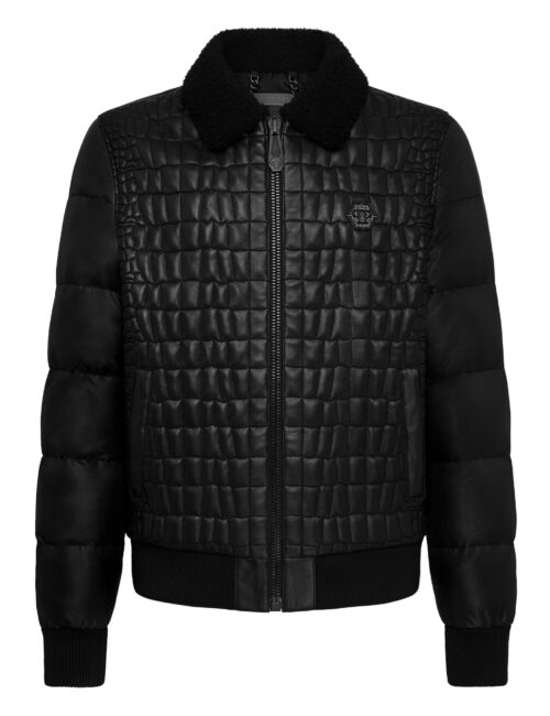 Philipp Plein Leather Bomber Croco-efect Iconic Plein 02