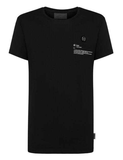 Philipp Plein T-shirt RN SS Logo Gothic Plein Zwart