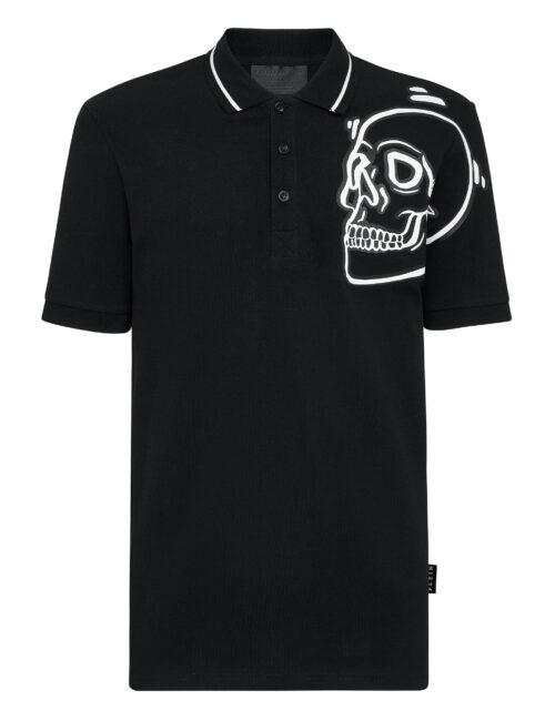 Philipp Plein Polo shirt SS Outline The Skull Zwart-Wit