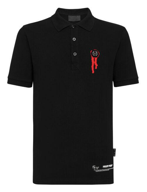 Philipp Plein Polo shirt SS Stars and skull Zwart-Rood