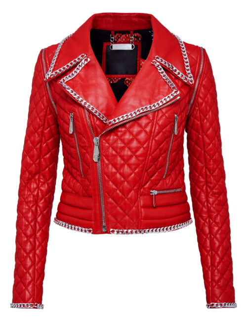 Philipp Plein Leather Biker Teddy Bear Rood