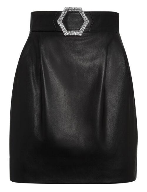 Philipp Plein Leather Skirt Short Zwart
