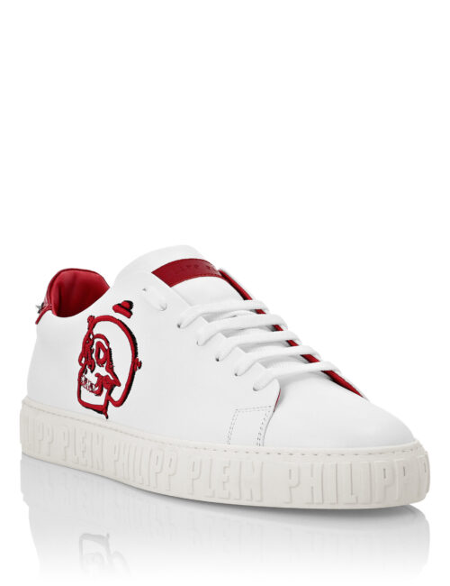 Philipp Plein Lo-Top Sneakers Skull PP edge Wit-Rood