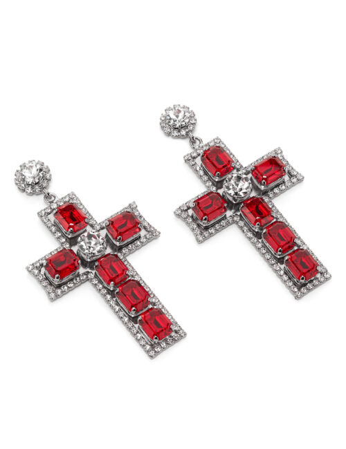 Philipp Plein Earrings Baroque Cross Rood