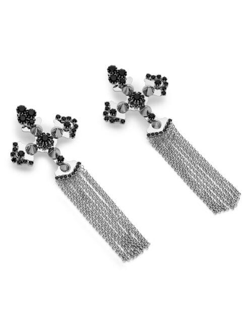 Philipp Plein Earrings Zwart/Nickel