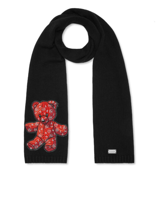 Philipp Plein Long Scarf Teddy Bear Zwart