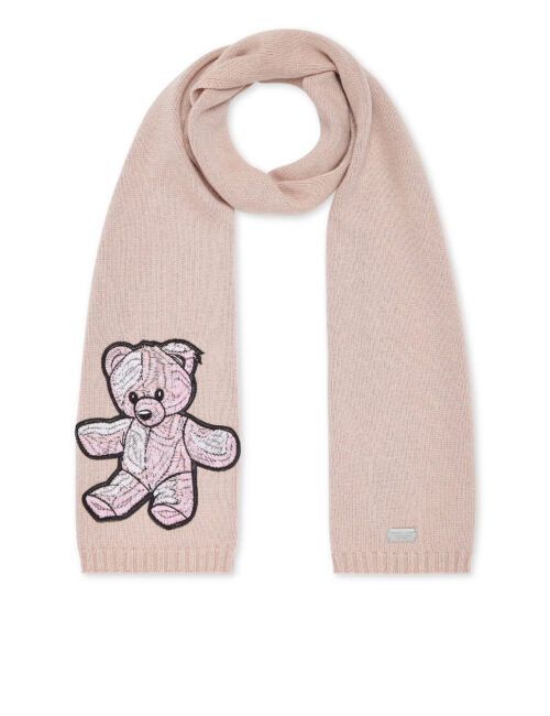 Philipp Plein Long Scarf Teddy Bear Roze