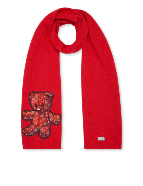 Philipp Plein Long Scarf Teddy Bear Rood