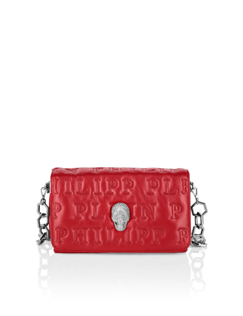 Philipp Plein Shoulder Bag Skull Crystal Red