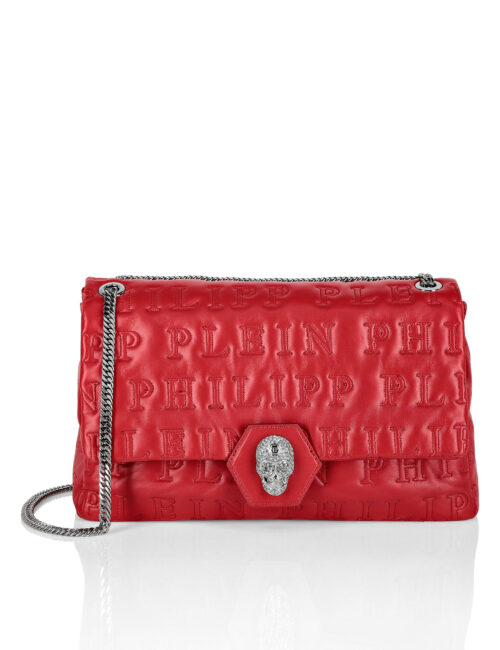 Philipp Plein Shoulder Bag Skull Crystal Red XL