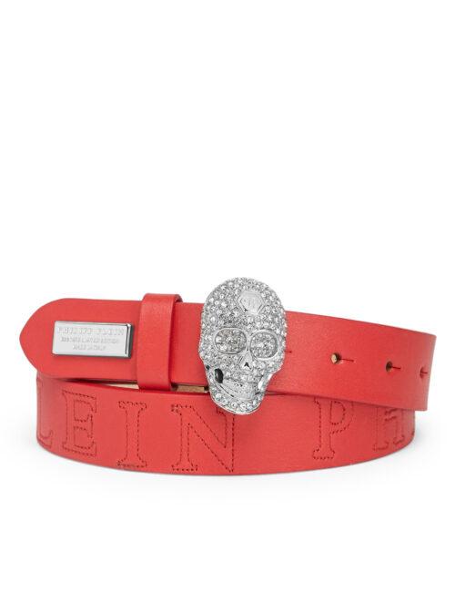 Philipp Plein Belt Skull PLEIN Crystal Red