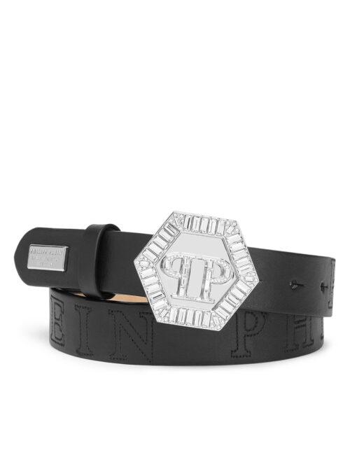 Philipp Plein Belt Plein Hexagon Crystal Black