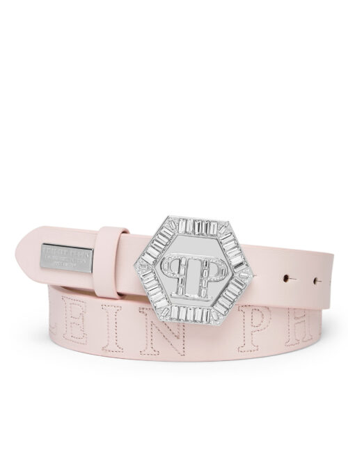 Philipp Plein Belt Plein Hexagon Crystal Pink