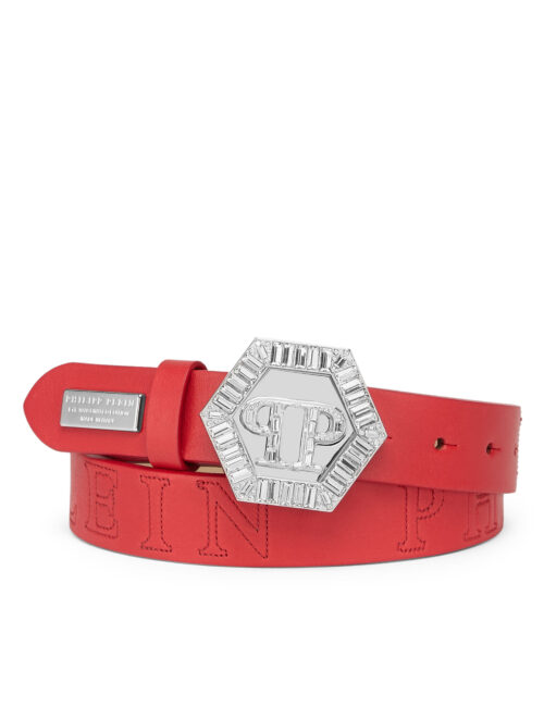 Philipp Plein Belt Plein Hexagon Crystal Red
